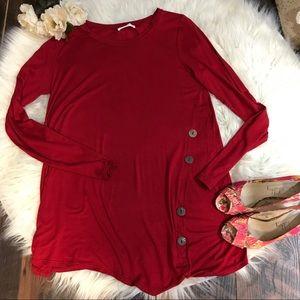 Reborn J Red Buttons asymmetrical tunic